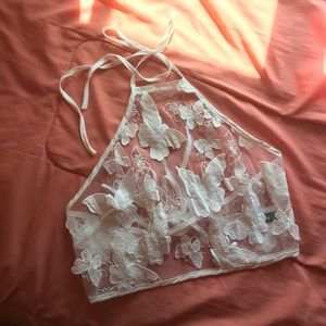 White Butterfly Lace Bow Tie Halter Top NWOT